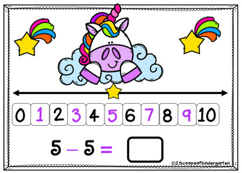 BOOM cards Subtraction using the Number Line (Unicorn theme)