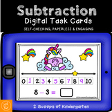 BOOM cards Subtraction using the Number Line (Unicorn them