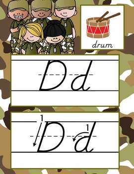 BOOTCAMP - Alphabet Cards, Handwriting, D'Nealian, ABC cards with pictures