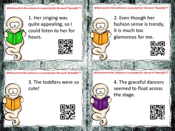 BOOtiful Words, Synonym Task Cards with QR Codes