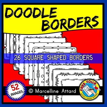 DOODLE BORDERS CLIPART SET: RECTANGLE BORDERS + SQUARE BORDERS: MATCHING BORDERS