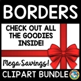BORDERS AND FRAMES BLACK AND WHITE CLIPART BUNDLE