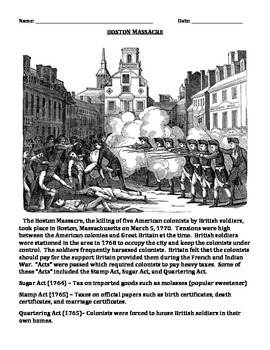 BOSTON MASSACRE: REVOLUTIONARY WAR (GRADES 5 - 8)