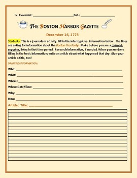 BOSTON TEA PARTY: A JOURNALISM ACTIVITY, GRADES 4-8,  MG