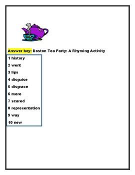 BOSTON TEA PARTY: A RHYMING ACTIVITY