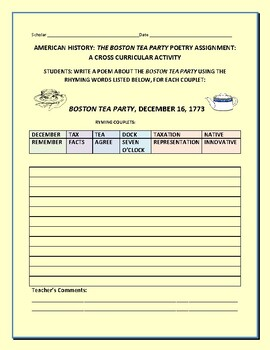 BOSTON TEA PARTY: AN AMERICAN HISTORY POETRY ASSIGNMENT