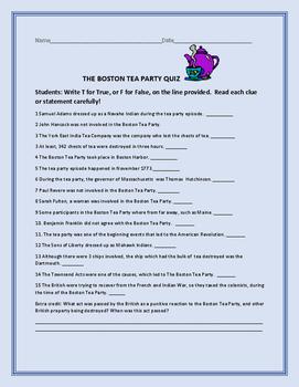 BOSTON TEA PARTY QUIZ