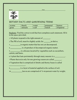 BOTANY FACTS AND GARDENING TERMS, GRADES 5-7