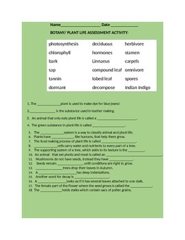 BOTANY/PLANT LIFE ASSESSMENT/ACTIVITY GRADES 4-8
