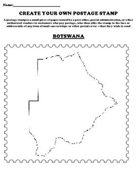 BOTSWANA Create your Own Postage Stamp Worksheet