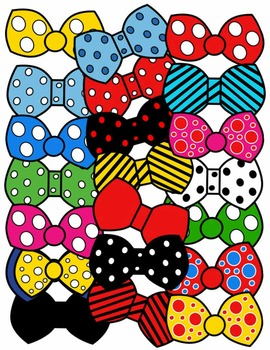 BOW TIE CLIP ART * COLOR AND BLACK AND WHITE