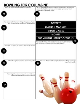 BOWLING FOR COLUMBINE - Print and Go Worksheets for Analysis of the Documentary