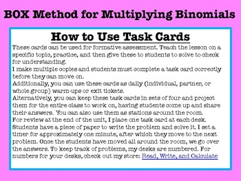 BOX Method for multiplying binomials TASK CARDS
