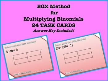 BOX Method for multiplying binomials TASK CARDS