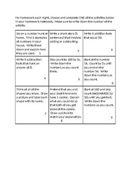 BOY Choice Board - First Grade Review