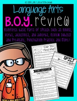 B.O.Y Language Arts Review No Prep Pages