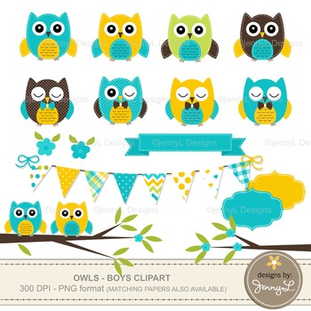 BOY Owl Clipart, Turquoise Owl, Yellow Stitched Owl, Tree Branch, Bunting