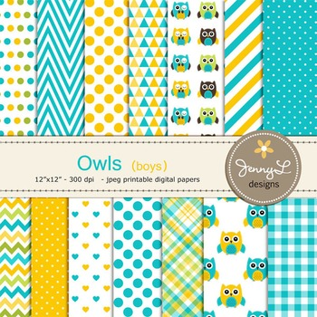 BOY Owl Digital Papers, Baby Boy Owl, Blue Turquoise and Yellow