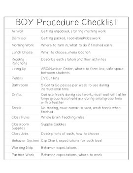 BOY Procedure Checklist