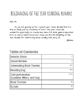 BOY Reading Response Bundle