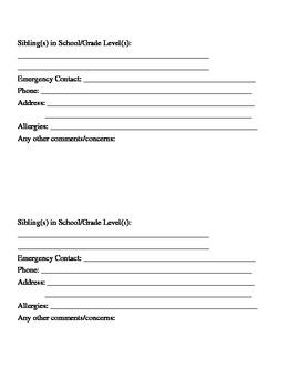 BOY Student Information Cards