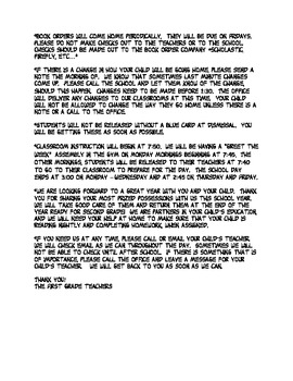 BOY letter to parents - Snoopy Themed