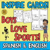 BOYS LOVE SPORTS! Inspirational Quote Cards in Spanish and English. Bilingual!