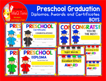 PRESCHOOL  GRADUATION  BOYS CERTIFICATES DIPLOMAS AND AWARDS