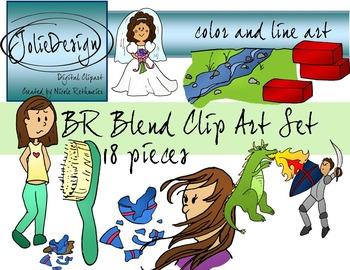 BR Blend Phonics Clipart Set - Color and Line Art 18 pc set