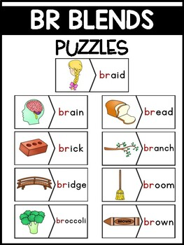 BR Blends Phonics Center:  Picture and Word Match Puzzles