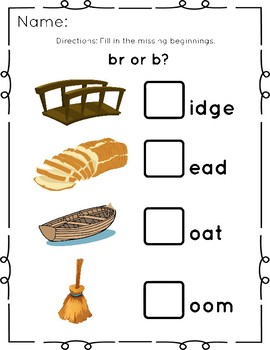 BR (R Blend) 6 page Phonics Packet