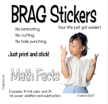 BRAG Tag Stickers Math Facts