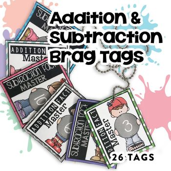 BRAG TAGS BUNDLE (Addition & Subtraction Math Fact Master)