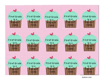BRAG TAG  First Grade is A Piece of Cake FREEBIE