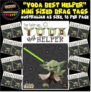 "Mini Sized Brag Tags - Star Wars ""Yoda Best Helper"" - A3 size, 18 per page"