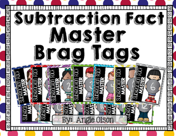Subtraction Fact Master Brag Tags