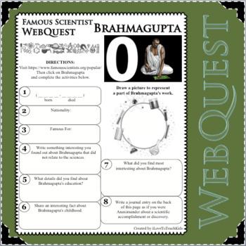 BRAHMAGUPTA - WebQuest in Science - Famous Scientist - Differentiated
