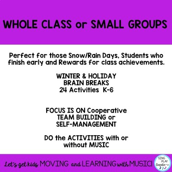 Brain Breaks, Recess, Drama Activities for Teams and Individuals: Winter Themed