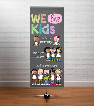 BRAINY BUNCH - Christian VBS Decor: LARGE BANNER, We love Kids