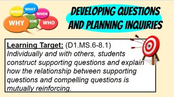 BRAND NEW! C3 Develop / Construct Supporting / Guiding Questions