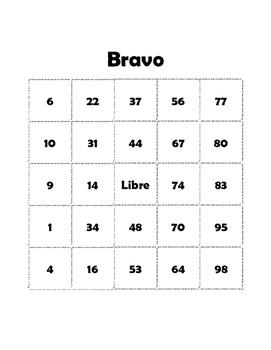 BRAVO (Spanish Numbers Bingo)