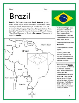 image relating to Brazil Flag Printable known as BRAZIL - Printable handouts with map and flag