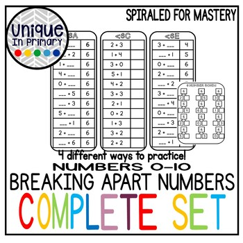BREAK APART NUMBERS/missing addends (addition/subtraction/families) under 10