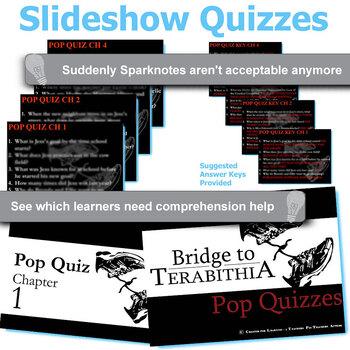 THE BRIDGE TO TERABITHIA 12 Pop Quizzes Bundle