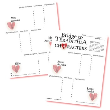 THE BRIDGE TO TERABITHIA Characters Organizer (by Katherine Paterson)