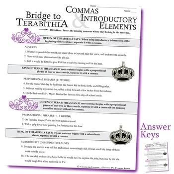 THE BRIDGE TO TERABITHIA Grammar Bundle Commas Conjs Preps Interjects