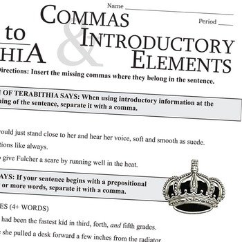 THE BRIDGE TO TERABITHIA Grammar Commas Introductory Elements