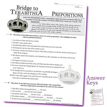 THE BRIDGE TO TERABITHIA Grammar Prepositions
