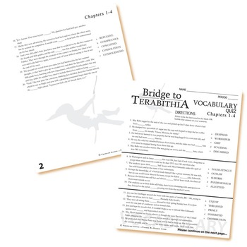 THE BRIDGE TO TERABITHIA Vocabulary List and Quiz (chapters 1-4)
