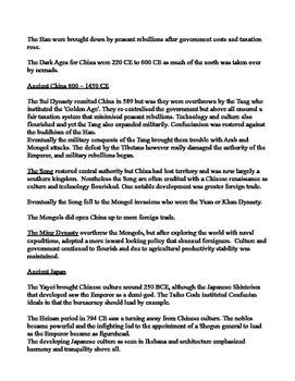 BRIEF REVIEW AND QUIZ ON FAR EAST IN WORLD HISTORY